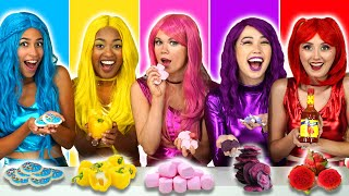 EAT ONLY ONE COLOR OF FOOD WITH THE SUPER POPS (Based on the 24 Hour Rainbow Food Challenge) Video