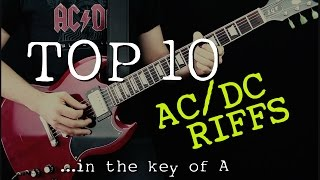 Top 10 AC DC Riffs (in the key of A)