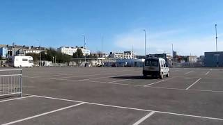 Motorhome parking at Plymouth Ferry Port, UK