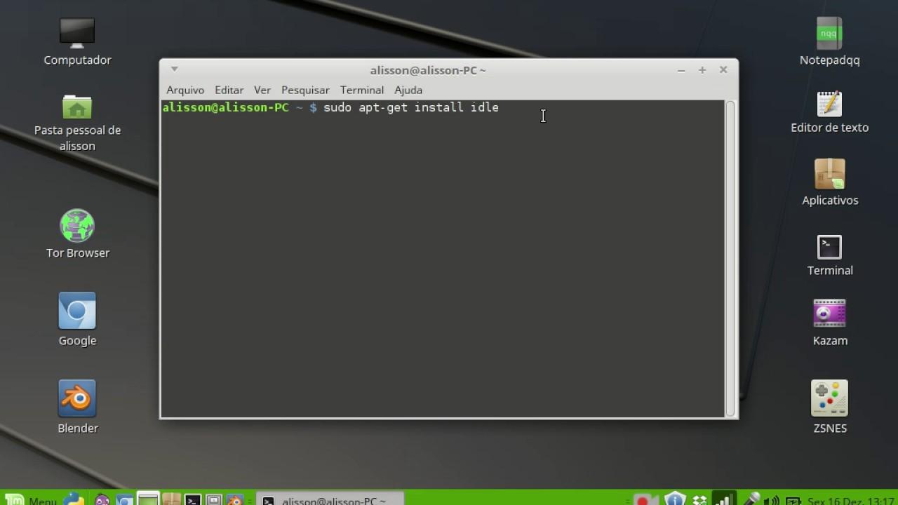 Como Instalar a IDLE python via terminal no Linux Mint