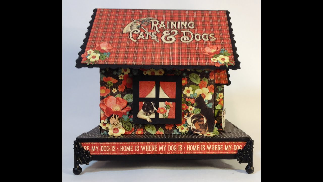 How to make a chipboard dog house mini album holder part