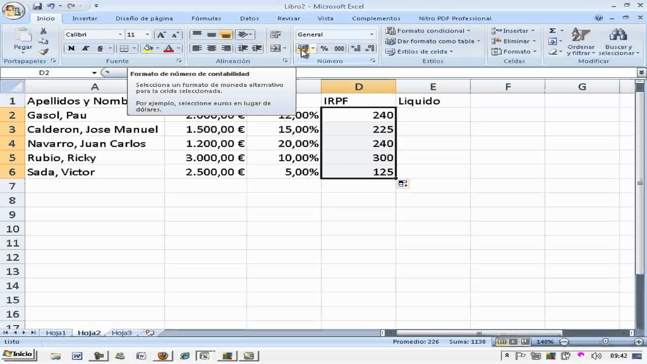 Calcular porcentaje descuento irpf trabajadores excel for Como hacer una nomina en excel con formulas