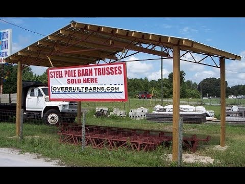 How to square a steel truss pole barn.kit