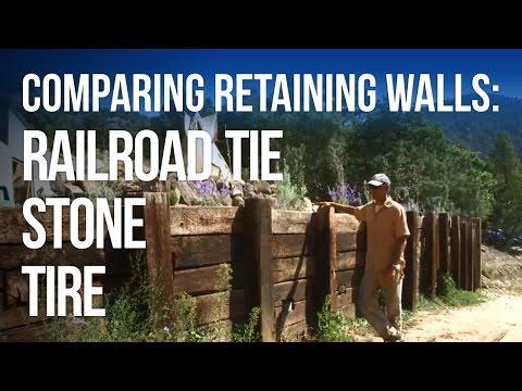 Retaining Walls: STONE vs TIRE vs RAILROAD TIE! - YouTube