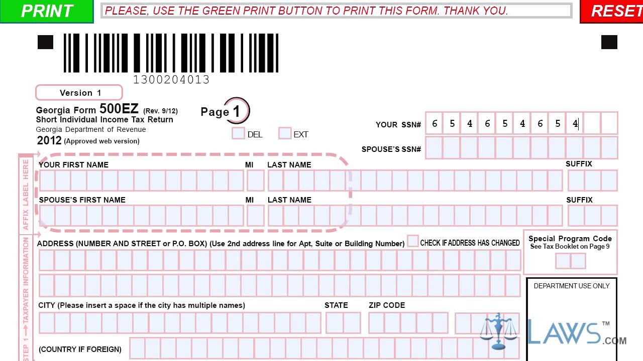 2017 Georgia 500 Es Form | Tax Form Online