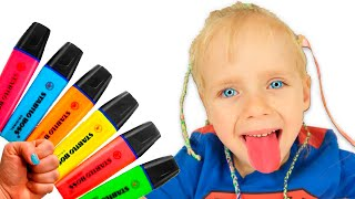 Pretends to play with his Magic Pen Preschool toddler learn colors | Little Varvara