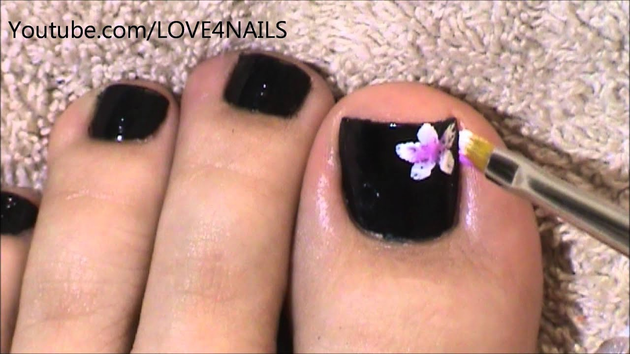 Black Toenail Art Design Tutorial - YouTube
