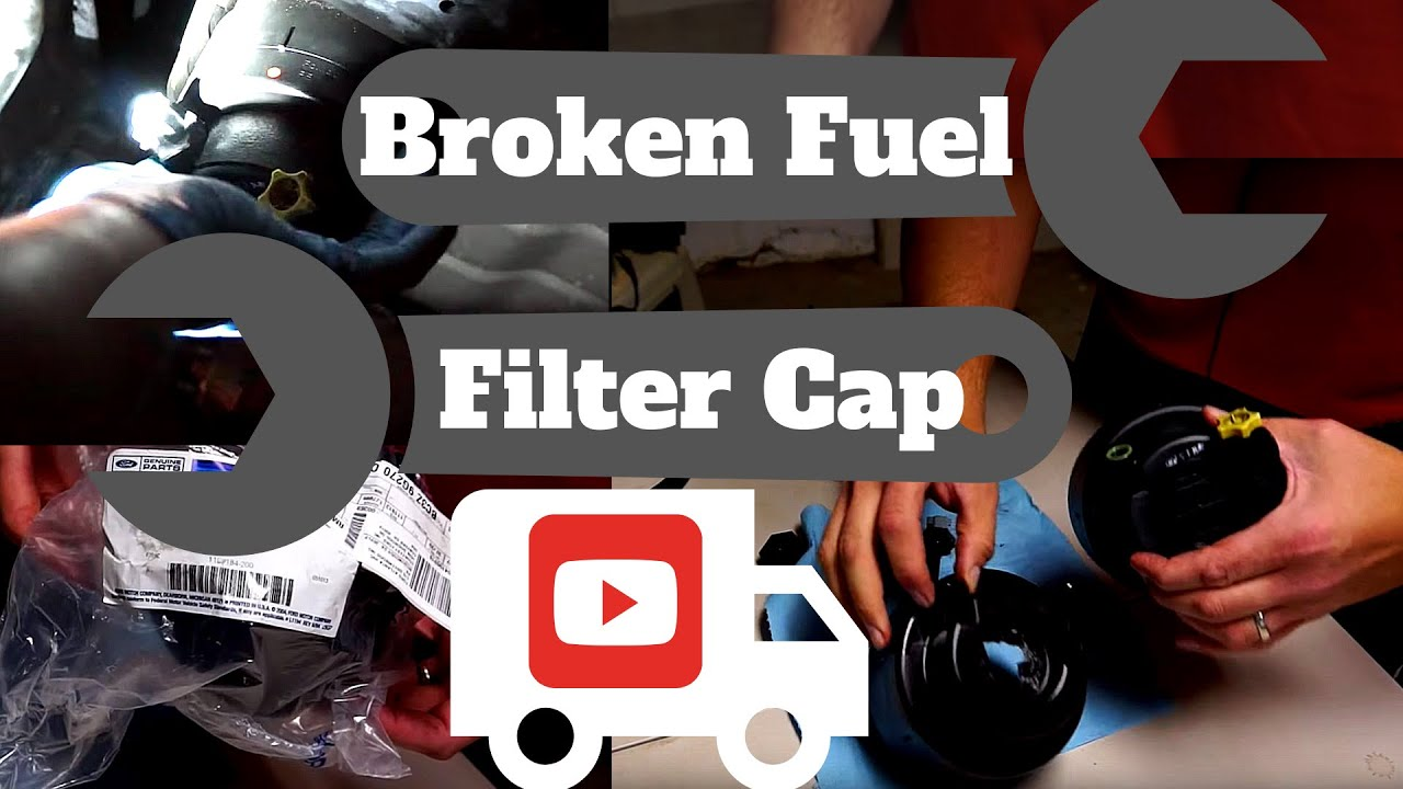 broken fuel filter cap replacement and fuel filter change in ford super duty diesel truck [ 1280 x 720 Pixel ]