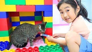 Boram brinca com animais de brinquedo e os trata
