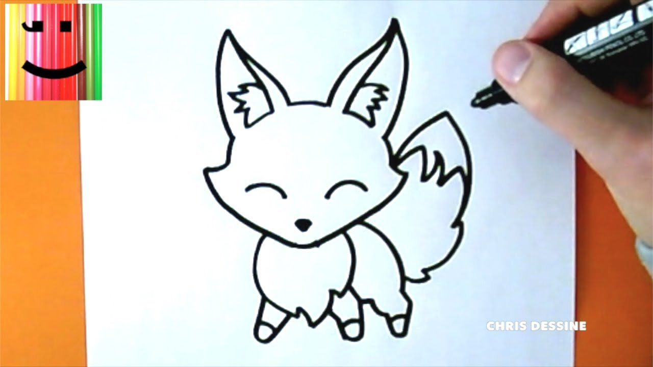 dessin facile comment dessiner un renard kawaii chris dessine youtube. Black Bedroom Furniture Sets. Home Design Ideas