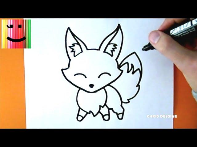 Tuto dessin dessin facile comment dessiner un renard kawaii chris dessine - Tuto dessin facile ...