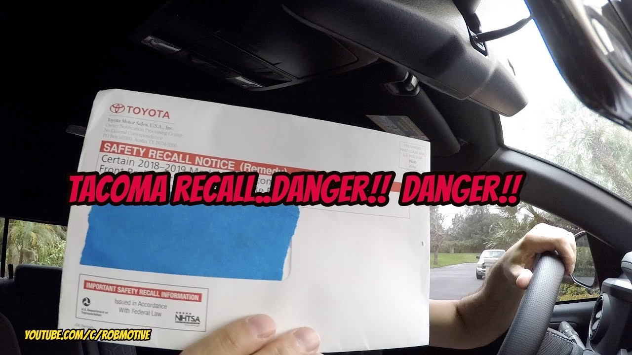 2018-2019 Toyota Tacoma Front Brake Performance Reduction Recall J06