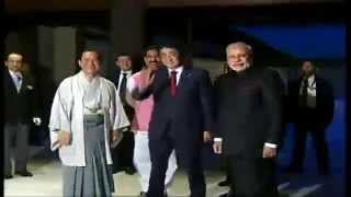 PM Modi being received by the Prime Minister of Japan Shinzo Abe, in Kyoto, Japan