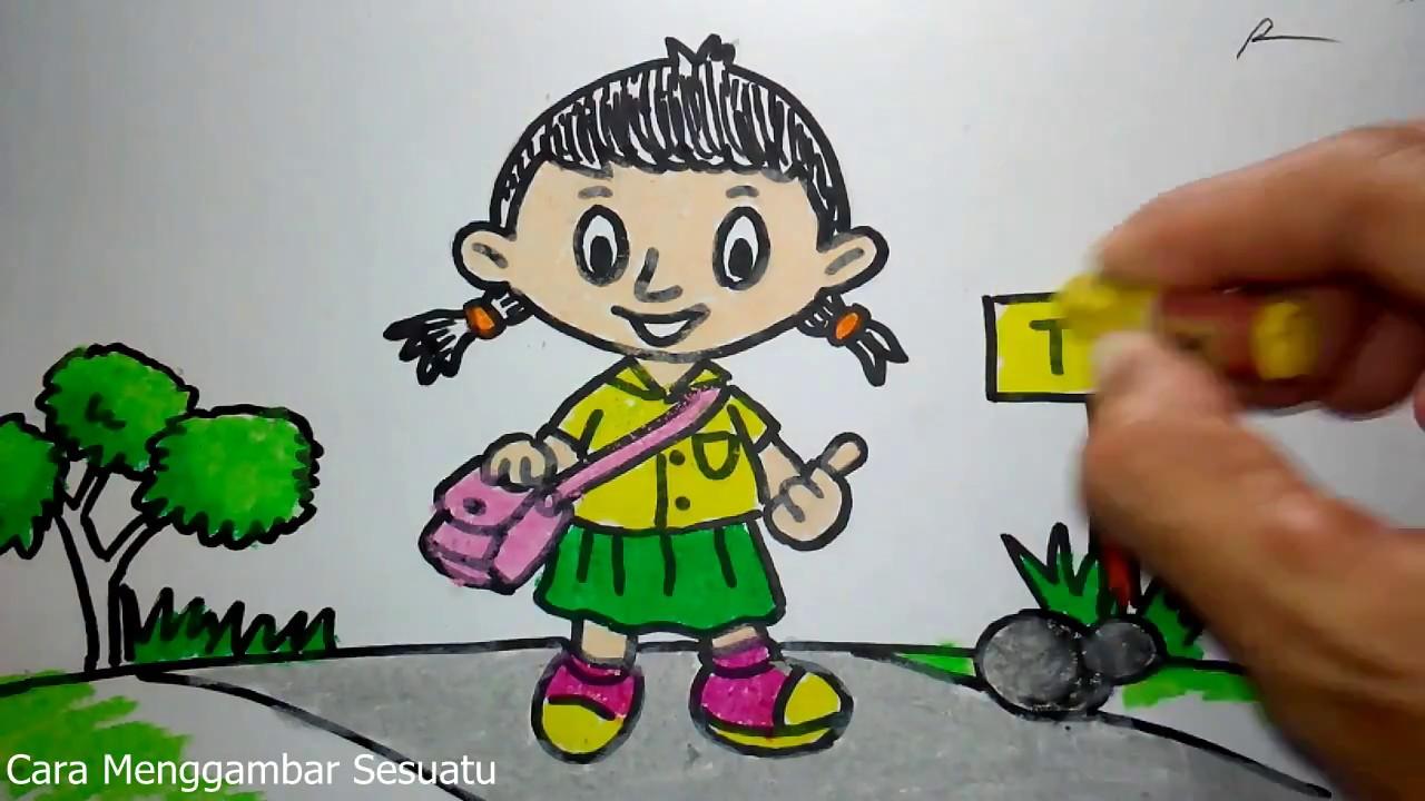 Cara Menggambar Anak Tk Berangkat Sekolah Youtube