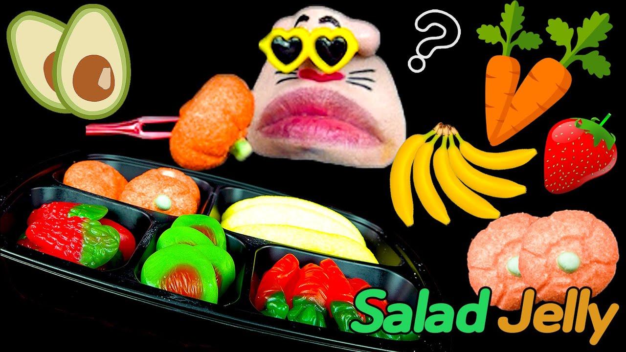 ASMR MUKBANG :) Fresh Vegetable Salad Jelly Dessert! REALMOUTH Eating Show!