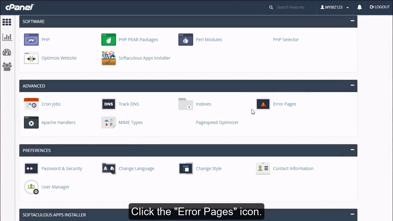 How to create custom error pages in cPanel?