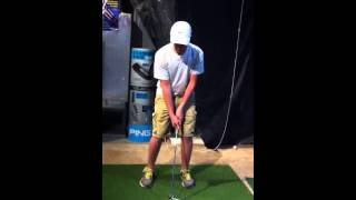 Junior Golfer correcting his hip hinge right knee and weight with Matt Christian