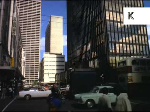 1970s Johannesburg, South Africa, Streets, People, Skyscrapers, 35mm Archive Footage