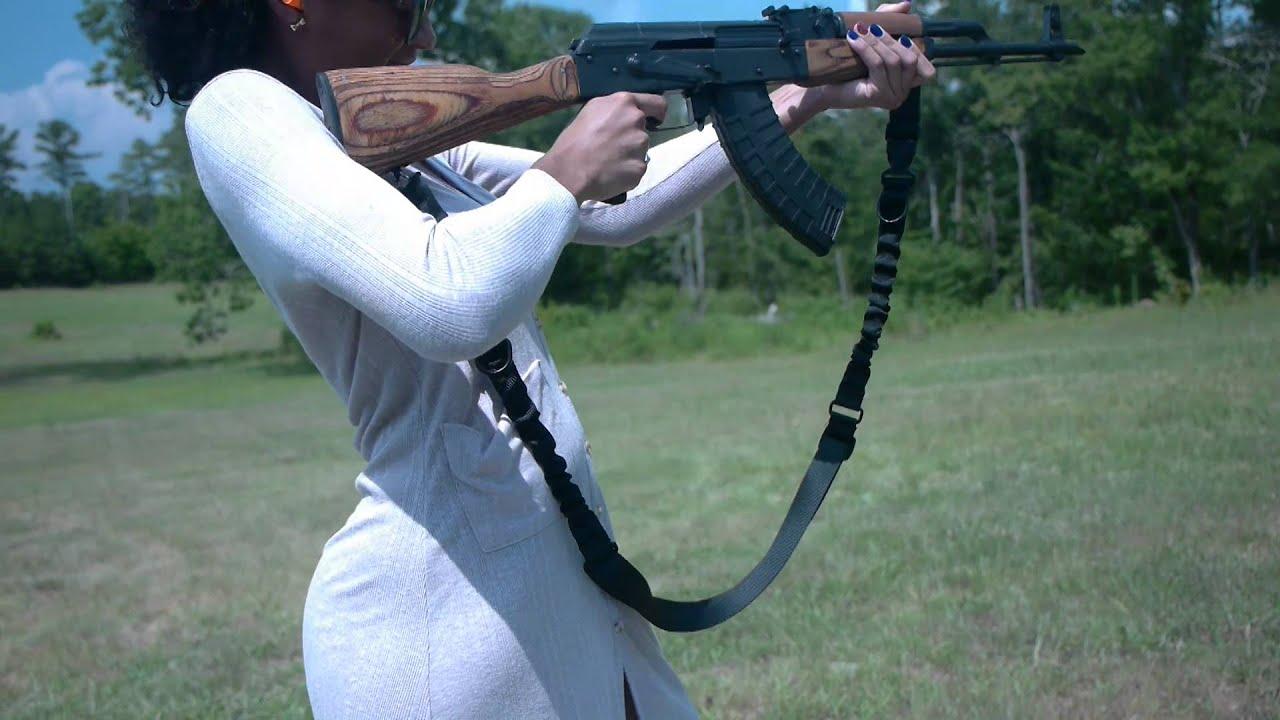 College Girl Firing AK-47 - YouTube