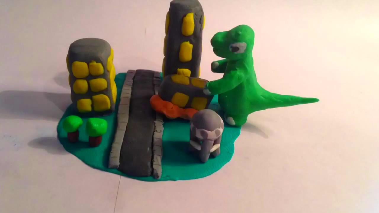 Clay Godzilla Destroys City Youtube