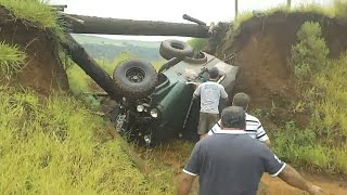 Offroad Jeep Cj7 Roll Over. Wood Bridge Collapses And Jeep Cj Rollover.