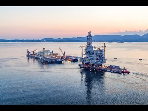 The Johan Sverdrup drilling platform installed