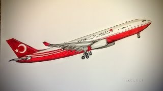 Airbus 330-200 TC-TUR (Drawing timelapse)