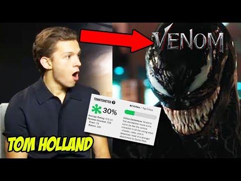 Spiderman Tom Holland Reacts to Venom Movie Ft. Tom Hardy 2018