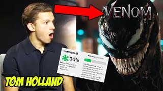 Spiderman Tom Holland Reacts to Venom Movie Ft. Tom Hardy 2018
