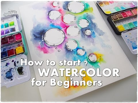How to Start? How to Break a Blank Page? WATERCOLOR for Beginners #1 ♡ Maremi's Small Art ♡