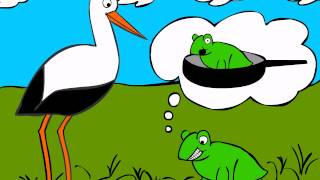 German Cartoons: Storch trifft Breitmaulfrosch (2) - Learn German easily