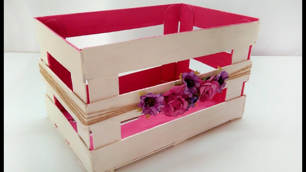 DIY Cajita rectangular con palitos de helado ~ Brotes de Creatividad -  YouTube