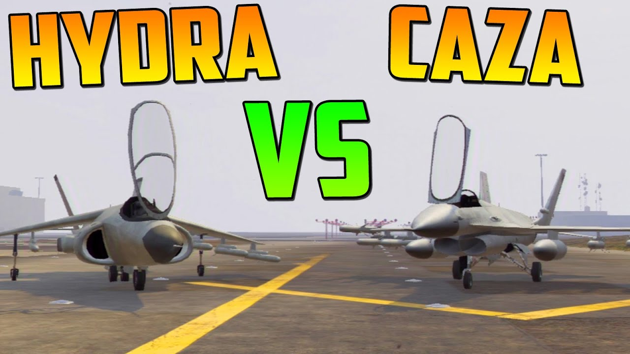 hydra vs caza test de velocidad gameplay gta 5 online dlc atracos a bancos heist gta v. Black Bedroom Furniture Sets. Home Design Ideas
