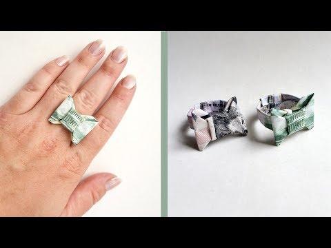 "Money RING ""BOW TIE"" | Origami Dollar Tutorial DIY Jewelry"