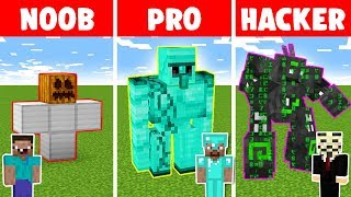 Minecraft NOOB vs PRO vs HACKER: IRON GOLEM CHALLENGE in minecraft - Animation