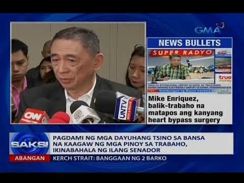 Pagdami ng mga Tsino sa bansa na kaagaw ng mga Pinoy sa trabaho, ikinabahala ng ilang senador