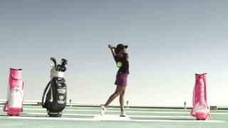 Cheyenne Woods on the Burj al Arab helipad during the 2014 Omega Dubai Ladies Masters