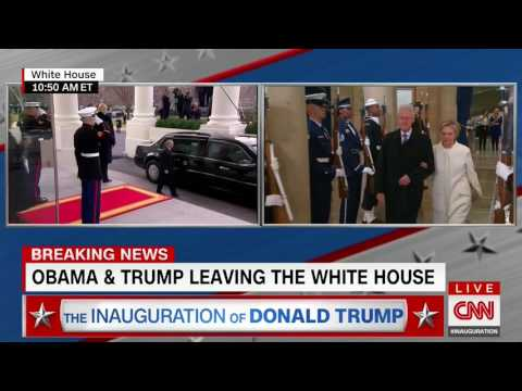 Obama salutes Marine guards as he exits the White House for last time. Trump does not.