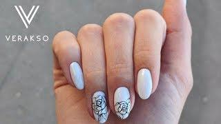 Тонкие линии. Розы на ногтях. Дизайн ногтей 68