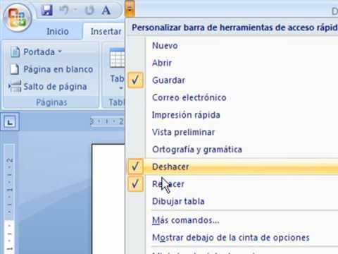 Microsoft Word 2007 Barra de Acceso Rapido