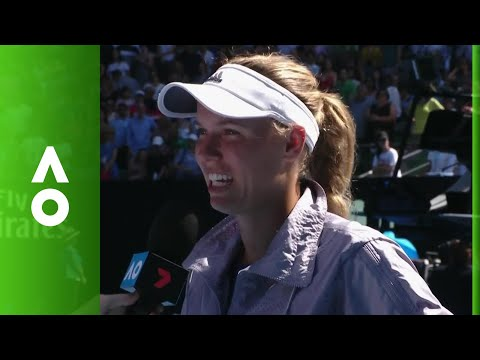 Caroline Wozniacki on court interview (SF)   Australian Open 2018