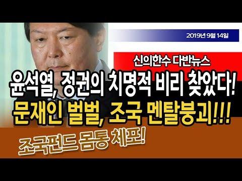 (다반뉴스) 윤석열, 문재인 정권 치명적 비리까지 찾았다!!! 조국 맨붕!!! / 신의한수 19.09.14