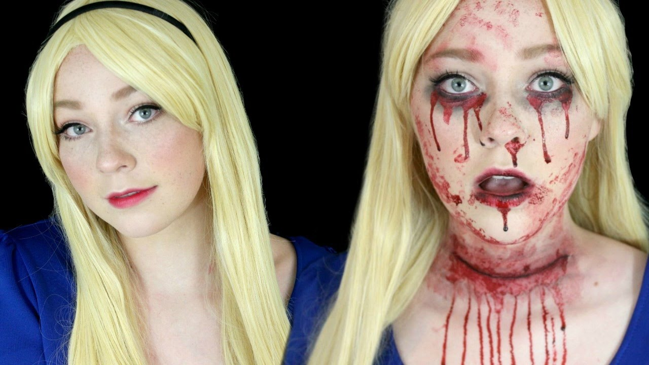 cut-throat alice in wonderland halloween makeup tutorial - youtube