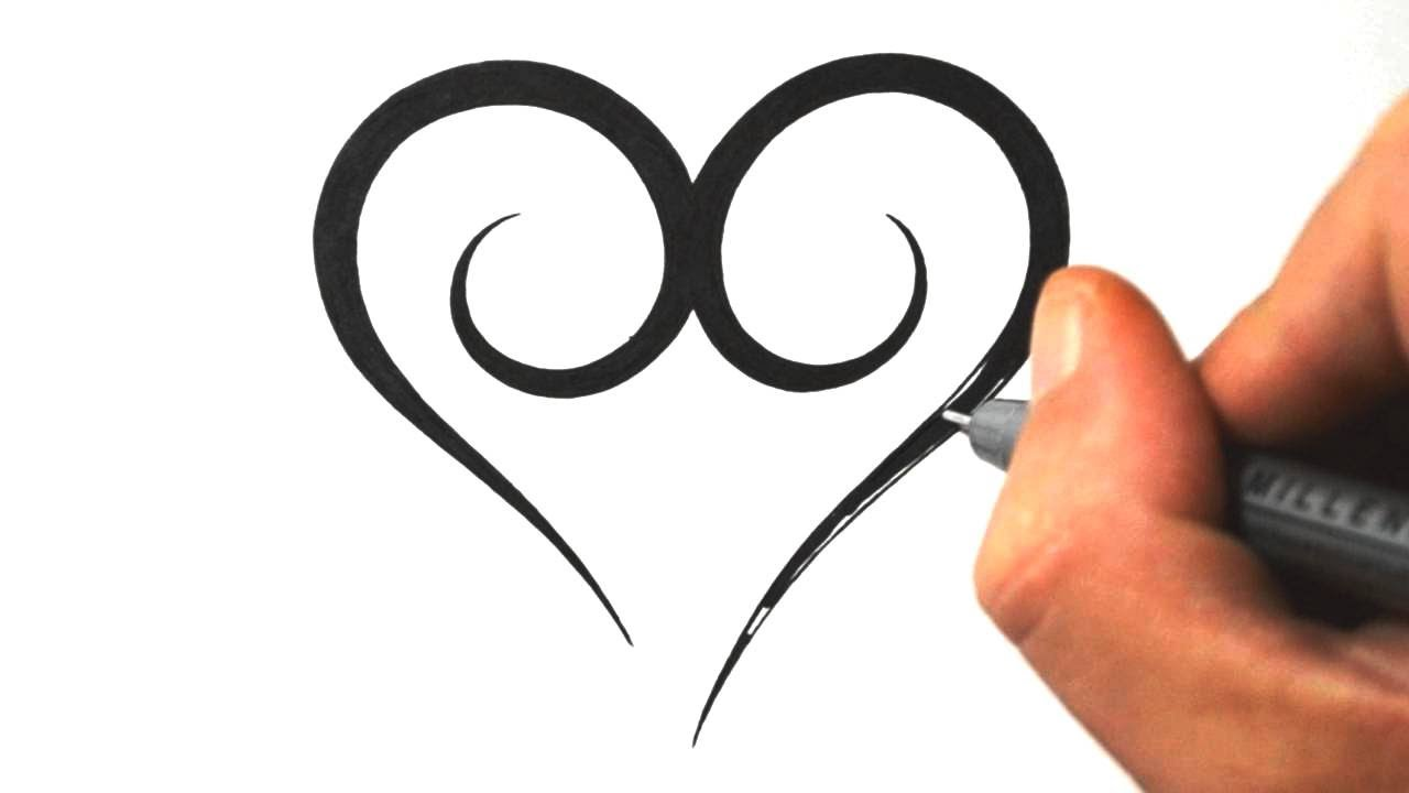 How to Draw a Simple Tribal Heart - Tattoo Design 3 - YouTube
