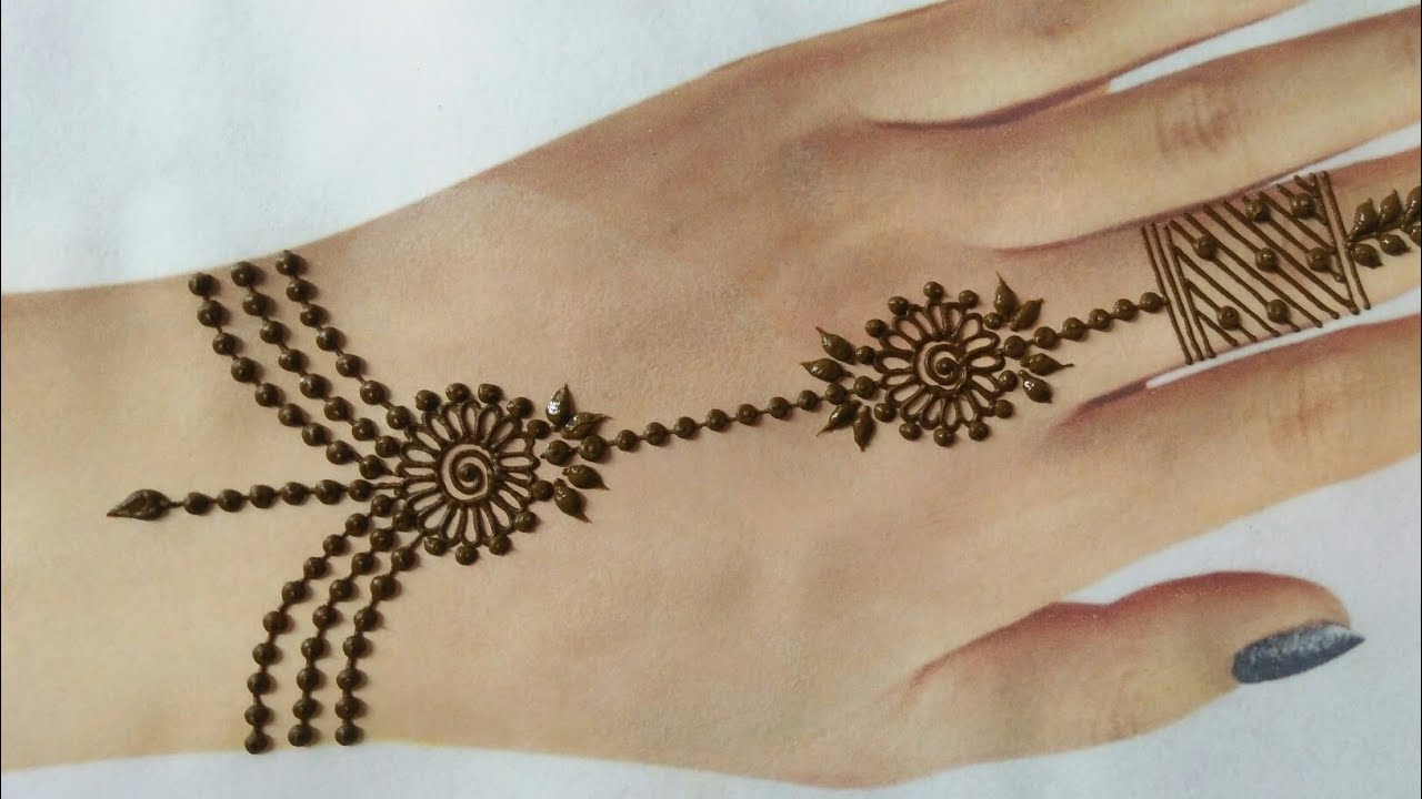 Very Easy Simple janmashtmi special jewelry mehndi design for back hands | Gol tikki mehndi design