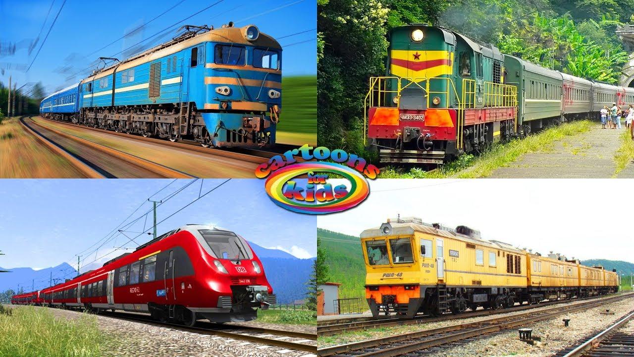 Поезда для детей и железная дорога. Развивающее видео для ...