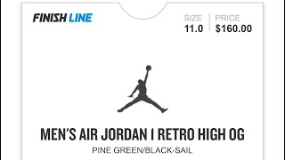 PINE GREEN COURT PURPLE JORDAN 1 FINISHLINE RAFFLE ISSUE FOOTACTION  RESERVATIONS ... 3280d5528