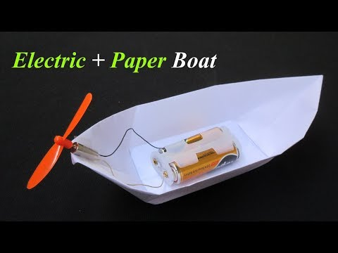 DIY How To Make Electric Paper Boat   Easy Science Project For Kids