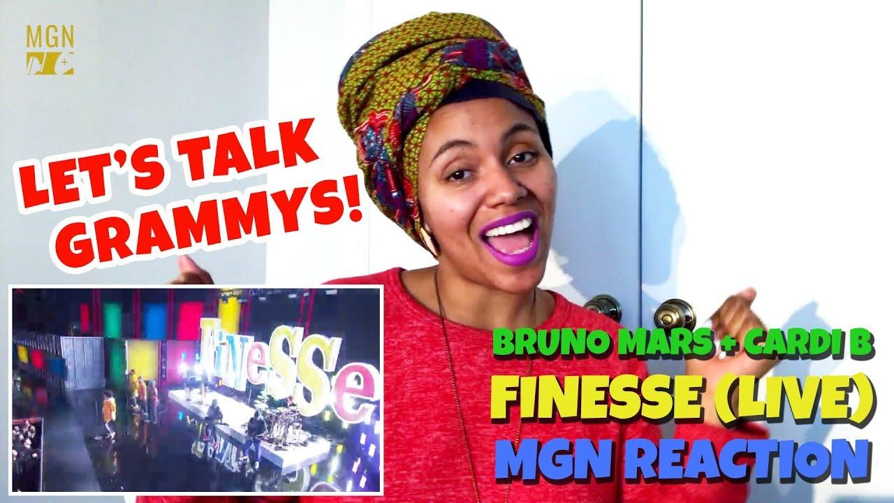Bruno Mars Cardi B Finesse Live 60Th Grammy Grammy Talk M Angel Reaction