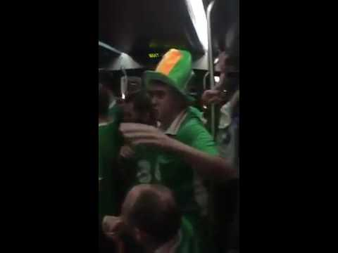 Irish fans Singing Lullabies to French baby on Bordeaux Tram - Euro 2016 - Ireland fans - Supporters
